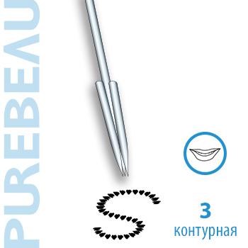 Игла 3-зубцовая контурная с защитным резиновым колпачком